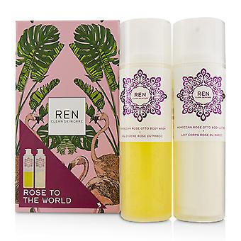 Rose To The World Moroccan Rose Otto Set: Body Wash 200ml + Body Lotion 200ml - 2pcs