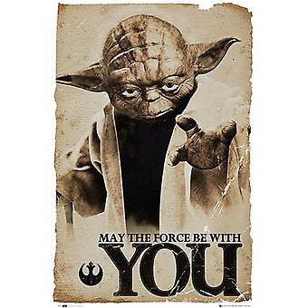 Poster de Star Wars, Yoda mayo la fuerza esté con vosotros 91.5 x 61 cm