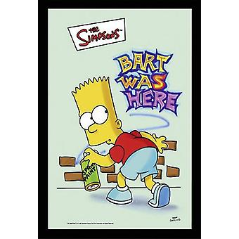 The Simpsons Bart what here wall mirror with black plastic framing wood