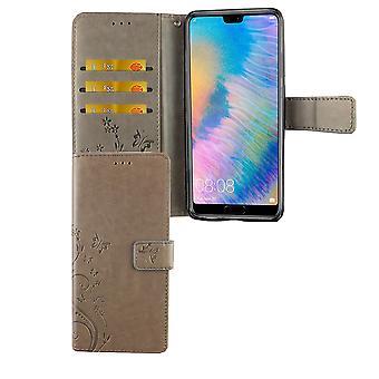 Huawei P20 Handy-Hülle Schutz-Tasche Cover Flip-Case Kartenfach Grau