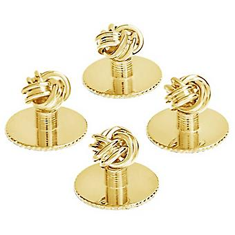David Van Hagen Set of Five Knot Design Dress Studs - Gold