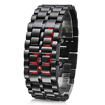 TRIXES moderne LED Digital lave sans visage Samurai S/Steel Bracelet montre-bracelet