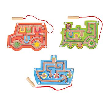 Bigjigs Toys Wooden Magnetic Labyrinth Game (Pack of 3) Stocking Filler, Gift