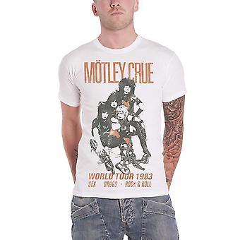 Motley Crue T Shirt Distressed Vintage World Tour Logo Official Mens off White