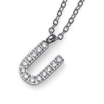 Oliver Weber Pendant Initial U Steel CZ Crystal