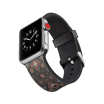Silikoni kello hihna Apple Watch 4 44mm, 3/2/1 42mm-kukat