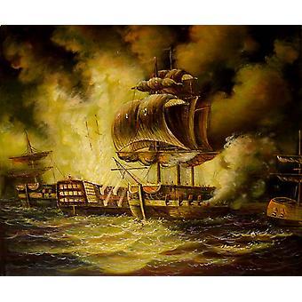 Válka na moři, olejomalba na plátně 50x60 cm