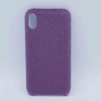 Für IPhone XR Fall weich flauschig-lila