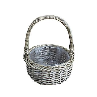 Medium Round Plastic Lined Wicker Flower Basket
