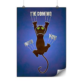 Matte or Glossy Poster with Attached Cute Funny Cat   Wellcoda   *y680