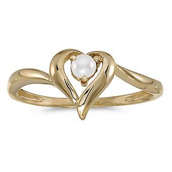 LXR 14k oro amarillo anillo de corazón de perla cultivada de agua dulce