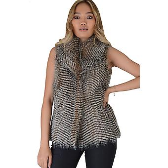 Lovemystyle Faux Fur Gilet With Two Tone Stripe