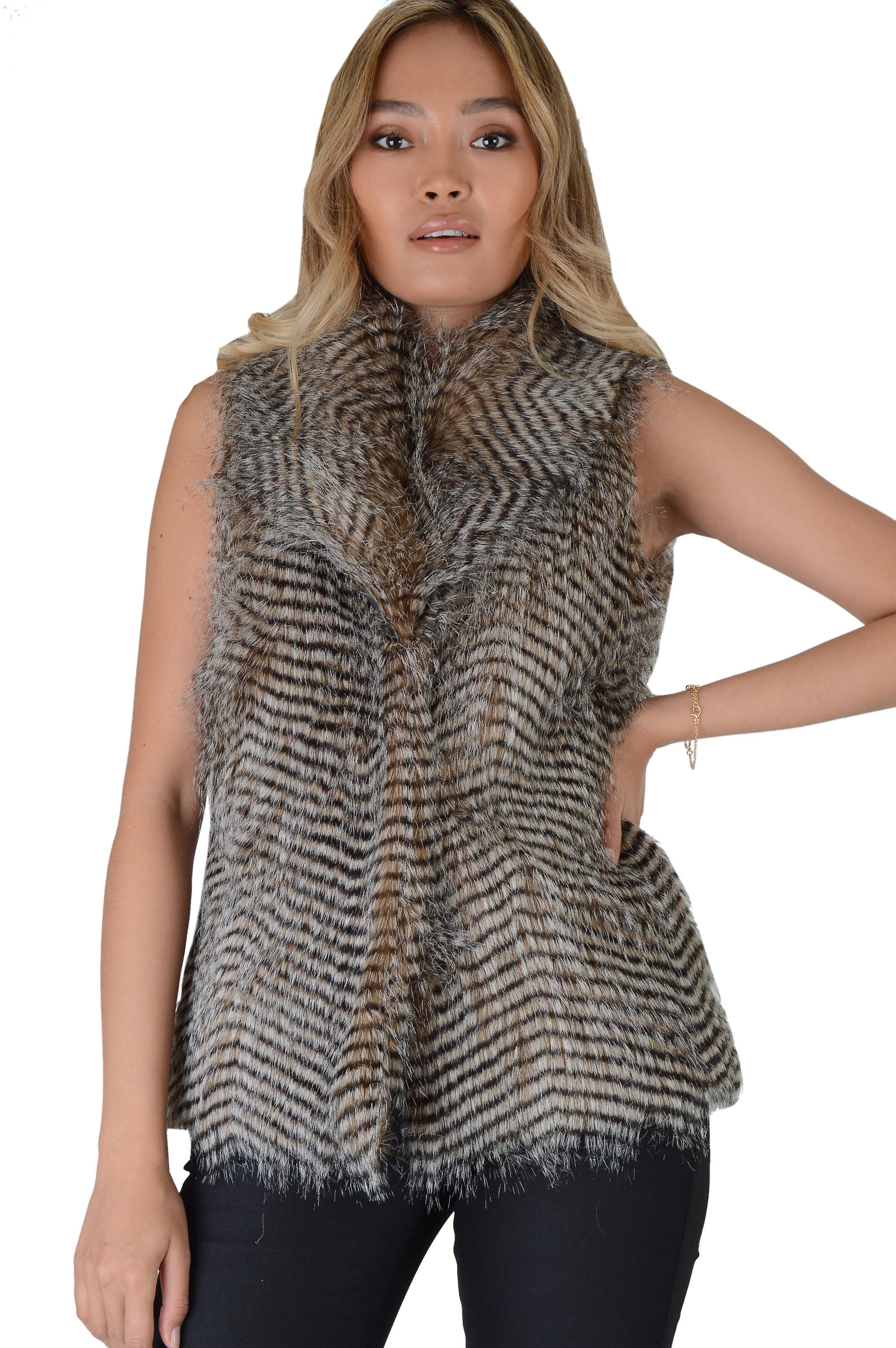 Lovemystyle Faux Fur Gilet With Two Tone Stripe