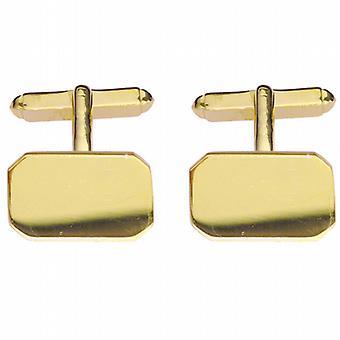 9ct Gold 18x12mm cut corner plain swivel Cufflinks