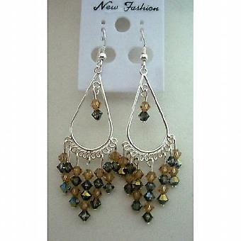 Smoked Topaz Crystals Chandelier Earings w/ Sterling Silver