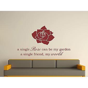 A Single Rose Wall Art autocollants - Bourgogne