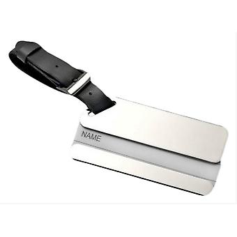 David Van Hagen Leather and Silver Luggage Tag - Silver/Black