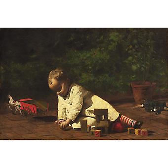 Vauva leikkiä lattialla, Thomas Eakins, 60x40cm