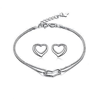 925 Sterling Silver smycken ihåliga hjärta armband och dubbar
