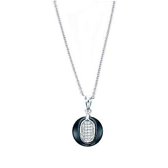 Ah! Jewellery Silver & Blue Ceramic Round Pendant Necklace With Crystals From Swarovski