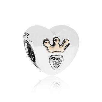 Pandora Majestic hjerte sølv, 14K gull & CZ Charm 791739CZ
