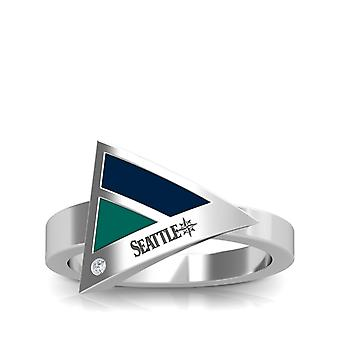 Seattle Mariners Engraved Sterling Silver Diamond Geometric Ring In Blue and Blue Green