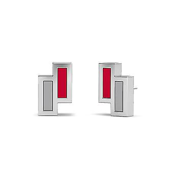 University Of New Mexico Sterling Silver Asymmetric Enamel Stud Earrings In Red and Grey