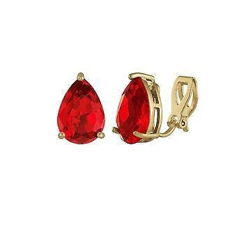 Eeuwige collectie verleiding Teardrop lichte Siam rode Crystal Gold Tone Stud Clip op oorbellen