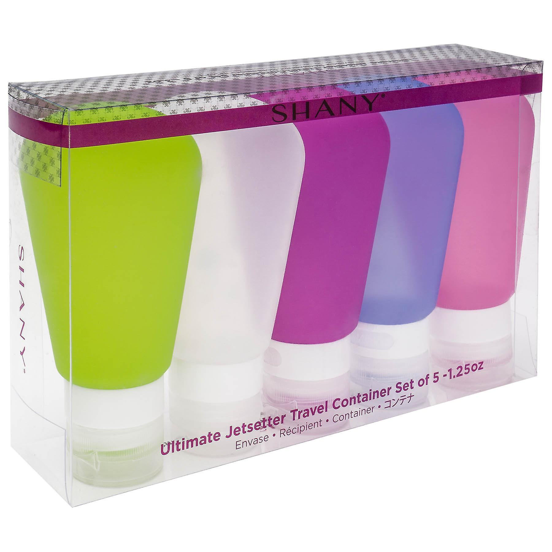 SHANY Ultimate Jetsetter Travel Container Set - TSA Approved Silicone Refillable Cosmetic Bottles - 1.25 oz (37 ml) - Pack of 5