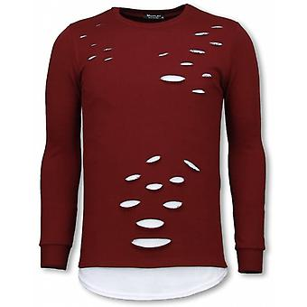 Longfit Sweater-Damaged Look Shirt-Burgundy