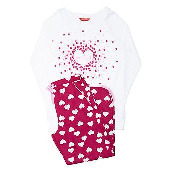 Minijammies 5498 Mädchen's Susie Kirsche rot Mix Herz Druck Baumwolle Pyjama Set