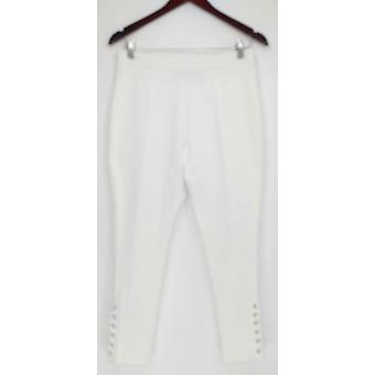 Susan Graver Petite Leggings Premium Stretch w/Lacing weiß A300540