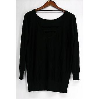 Glitterscape V-Back Shimmer Detail Tunic Top Black Womens A420703