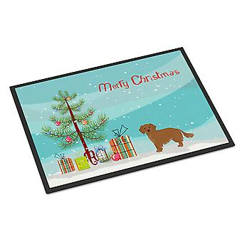 Small Greek Domestic Dog Kokoni Christmas Tree Indoor or Outdoor Mat 18x27