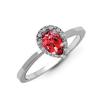 Jewelco London Solid 9ct White Gold Pave Set Round H I1 0.06ct Diamond and Pear Red 0.75ct Garnet Halo Cluster Ring 10mm