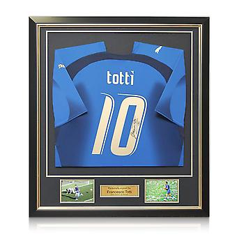 Francesco Totti Signed Italy 2006 World Cup Winners Football Shirt. Framed