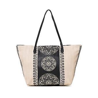 Desigual Bag Lady Capri Reißverschluss Damen - weiße Damen Schultertaschen (Crudo Beige) 13x28x30 cm (B x H T)