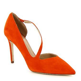 Leonardo Scarpe Donne's fatti a mano tacchi alti pompe scarpe pelle scamosciata arancione