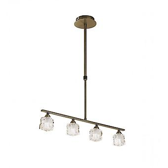 Mantra Ice Pendant 4 Light G9 ECO Bar, Antique Brass