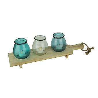 Coastal Blue Glass 3 Votive Candle Holders On Wood Tray Set