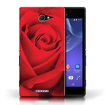 STUFF4 Case/Cover for Sony Xperia M2/Red Rose/Floral Garden Flowers