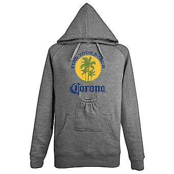 Corona Extra Find Your Beach Beer Pouch Hoodie