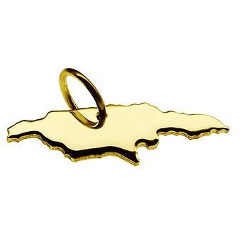 Pendentif de chaîne de carte en or jaune-or sous la forme de JAMAIKA