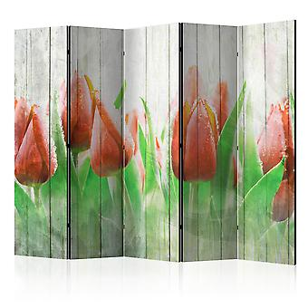 Vouwscherm - Red tulips on wood [Room Dividers]