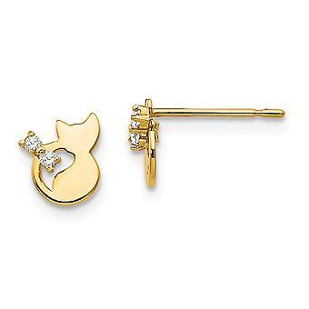 14kイエローゴールドマディK CZキュービックジルコニアの男の子や女の子猫ポストイヤリングのためのダイヤモンドをシミュレート