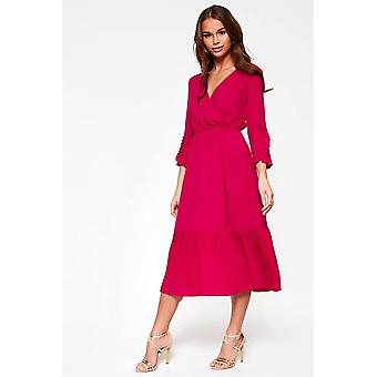 iClothing Jinx Wrap Top Midi Dress In Raspberry-16