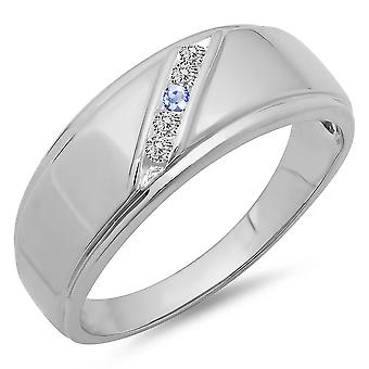 Dazzlingrock Collection 14K Round Tanzanite & White Diamond Men's 5 Stone Wedding Anniversary Band, White Gold
