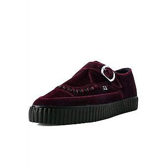 TUK Shoes Burgundy Velvet Monk Buckle Pointed Creeper Sneaker