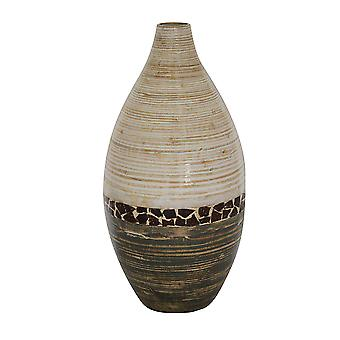 20 Spun Bamboo Vase - Bamboo In White And Gray W/ Coconut