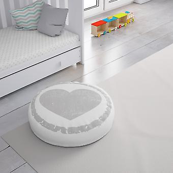 Meesoz Floor Cushion - Grunge Heart Grey